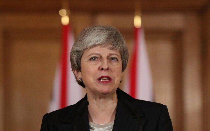 Britain's Prime Minister Theresa May makes a statement about Brexit in Downing Street in London. Reuters photo