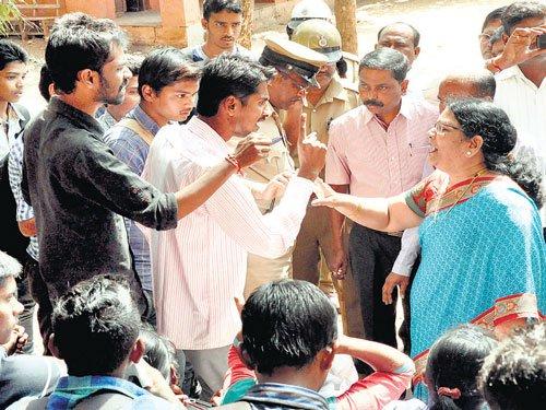 Protest against 'pervert' teacher in Belagavi
