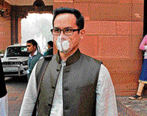 Gogoi's son attends Parliament in mask