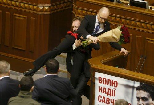 Brawl in Ukraine parliament after MP manhandles premier