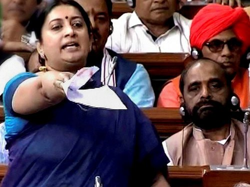 Opp to bring privilege motion against Irani in Parliament