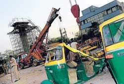 Crane overturns in Delhi Metro site, two injured