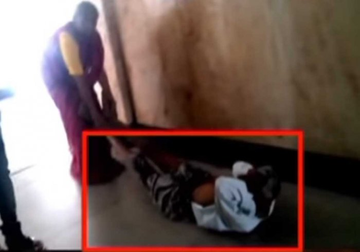 With no wheelchair, woman drags ill husband for scanning in Shivamogga