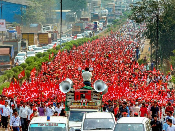 PTI File photo of the farmers' march in Mumbai