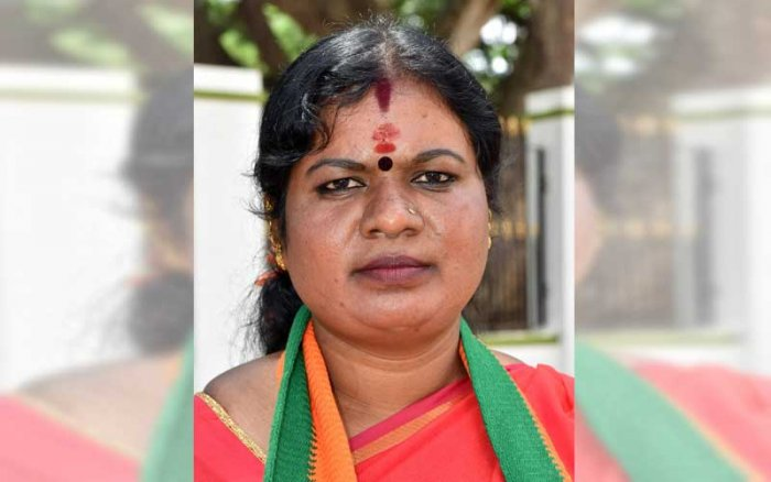 Shanthamma R of BJP party candidate ward 62 won the MCC Election in Mysuru on Monday. (DH Photo)