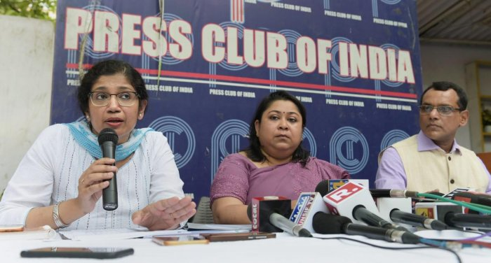 Members of IAS association of the AGMUT cadre, (L-R) Varsha Joshi, Manisha Saxena and Director DIP Sarngi Dev address a press conference to refute claims made against IAS officers for being on strike, in New Delhi. PTI photo.