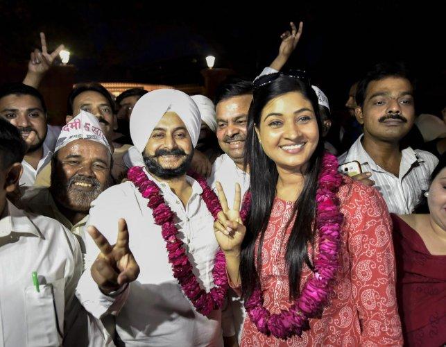 AAP MLAs Alka Lamba and Jarnail Singh. PTI File photo