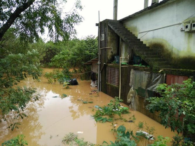 Heavy rains lashed the Malnad region flooding houses on Tuesday. DH photo.