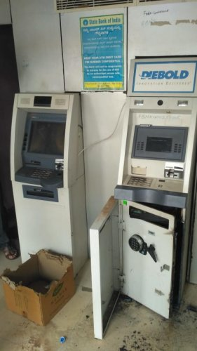 The ATM which was burgled in Bagalkot. dh photo