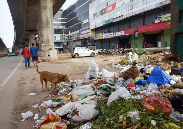 A pile of trash around a metro pier in T Dasarahalli, Tumakuru Road, on Sunday. DH PHOTO/B H SHIVAKUMAR