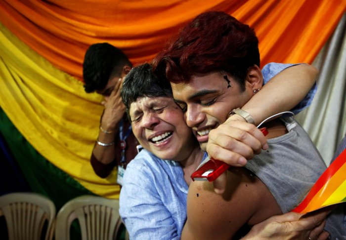 People belonging to the lesbian, gay, bisexual and transgender (LGBT) community celebrate after the Supreme Court's verdict of decriminalizing gay sex and revocation of the Section 377 law, at an NGO in Mumbai, India, September 6, 2018. (Reuters Photo)