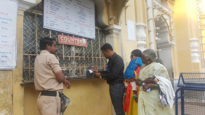 The ticket counter near Varaha gate of the Mysuru Palace.