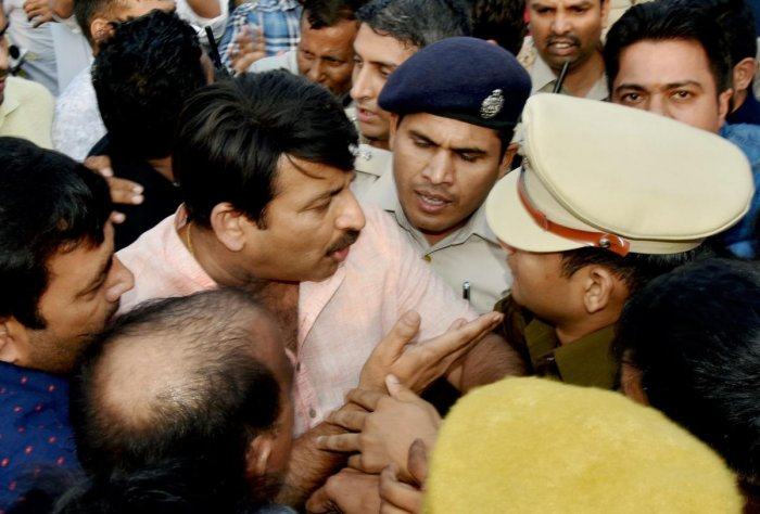 Tiwari and his supporters allegedly got into a scuffle with AAP members and police at the inaugural event of the newly-built Signature Bridge here on Sunday. (PTI File Photo)