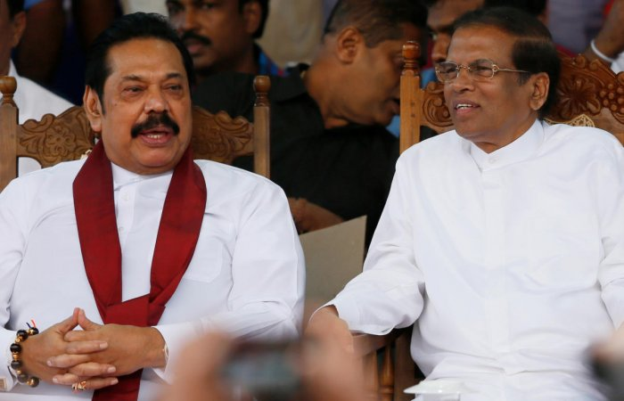 Sri Lanka's newly appointed Prime Minister Rajapaksa and President Sirisena. Reuters file photo