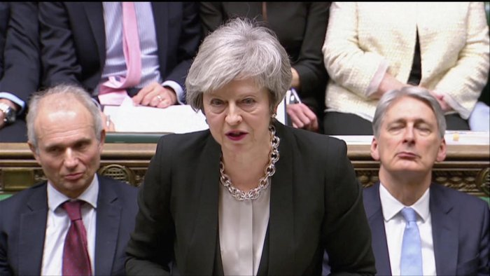 Britain's Prime Minister Theresa May speaks during a debate on her Brexit 'plan B' in Parliament. Reuters photo