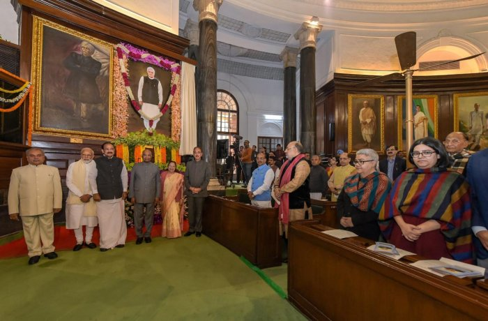 President Ram Nath Kovind unveils the life-size portrait of former prime minister Atal Bihari Vajpayee at the Central Hall of Parliament House, in New Delhi. Vice President M Venkaiah Naidu, Prime Minister Narendra Modi, Lok Sabha Speaker Sumitra Mahajan,