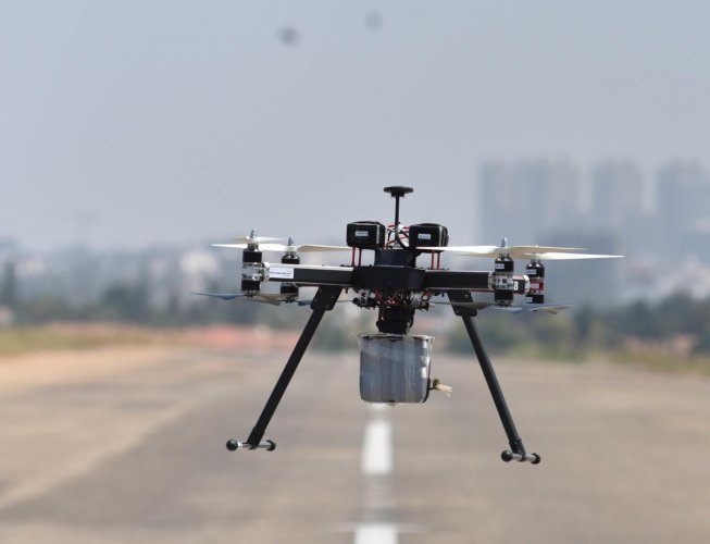 A drone was sighted at the airport, the highly sensitive Vikram Sarabhai Space Centre and nearby Kovalam beach early Friday morning, prompting Southern Air Command and Military Intelligence to go on high alert.