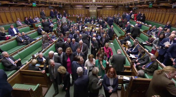British MPs leave after the results of the vote on Brexit in Parliament in London, Britain, March 13, 2019, in this screen grab taken from video. Reuters TV via REUTERS