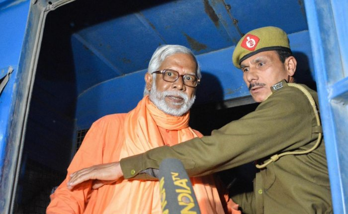 Swami Aseemanand, after a special court acquitted him along with three others in the Samjhauta train blast case, in Panchkula. PTI