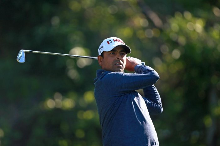 STEADY: Anirban Lahiri tees off during the opening round of the Valspar Championship on Thursday. AFP