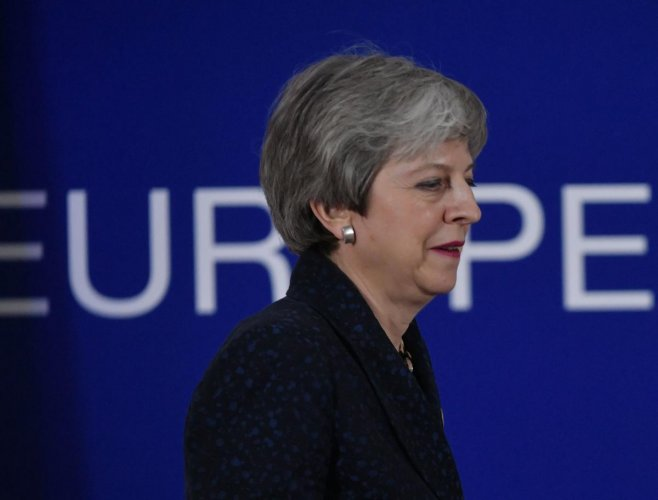 British Prime Minister Theresa May arrives to a press conference on March 22, 2019, on the first day of an EU summit focused on Brexit, in Brussels. AFP