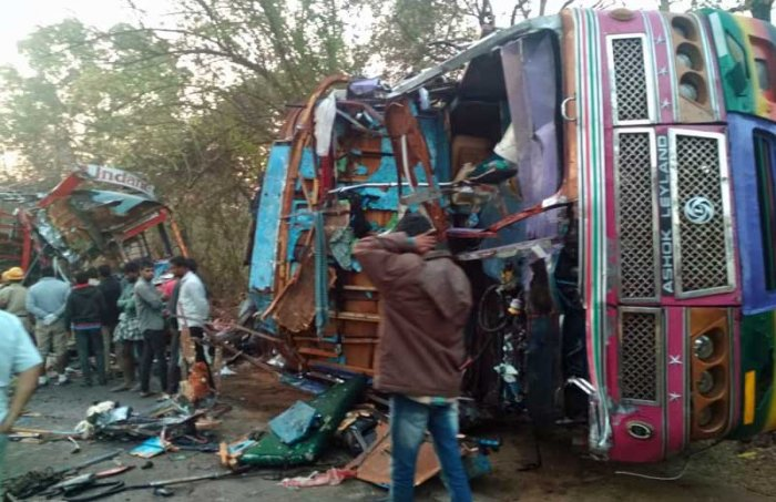 The incident took place when the LPG cylinder-borne lorry heading towards Sagar collided with another ten-wheeler-truck ferrying tar coming from Sagar.