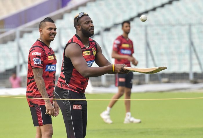 KKR will expect all-rounder Andre Russell (right) and off-spinner Sunil Narine to fire in their opener against Sunrisers Hyderabad on Sunday. PTI