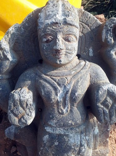 Lord Shaniswara swamy idol found during the Varthur lake walk bore at the excavation & construction site of northeastem wastewater.