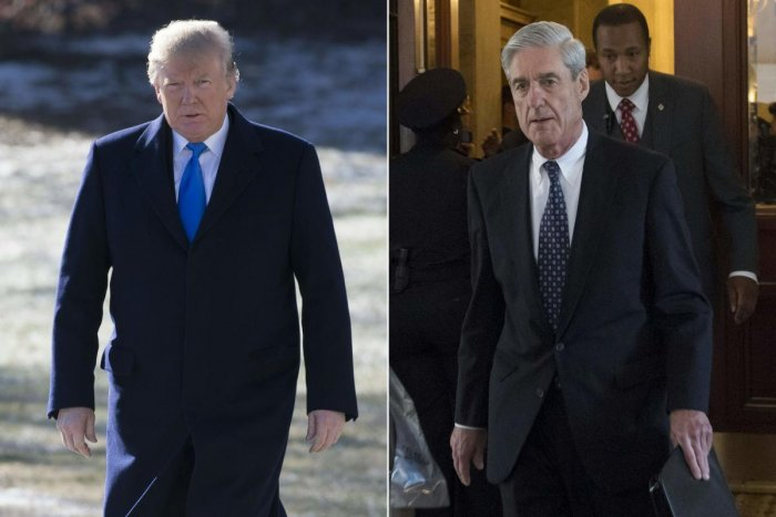 (COMBO) This combination of pictures created on January 24, 2018 shows US President Donald Trump on the South Lawn of the White House in Washington, DC, January 5, 2018; and former FBI Director Robert Mueller, special counsel on the Russian investigation,