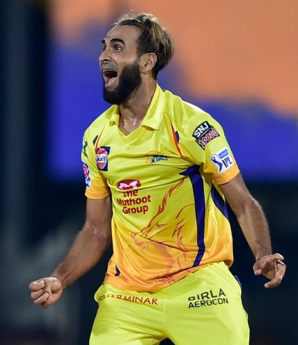 Chennai Super Kings' Imran Tahir celebrates after dismissing Royal Challengers Bangalore' Navdeep Saini in the opening match of the Indian Super League on Saturday. PTI