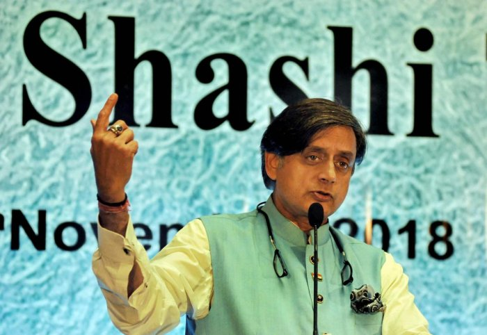 Kolkata: Congress MP Shashi Tharoor speaks during an interactive session organised by the Indian Chamber of Commerce, in Kolkata, Sunday, Nov 4, 2018. (PTI Photo) (PTI11_4_2018_000081B)