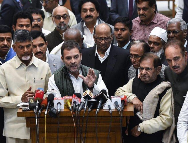 Congress President Rahul Gandhi, Andhra Pradesh Chief Minister N Chandrababu Naidu, Loktantrik Janata Dal (LJD) leader Sharad Yadav, NCP Chief Sharad Pawar, Congress leader Ghulam Nabi Azad and other party leaders during a press conference after a meeting