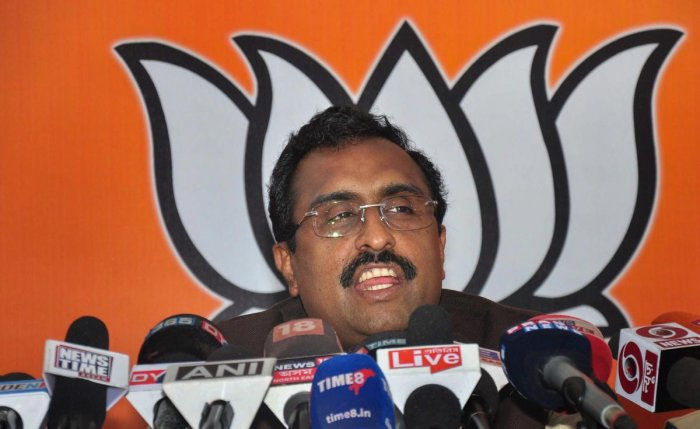 BJP National General Secretary Ram Madhav addresses a press conference at Assam state BJP office, in Guwahati on Sunday. PTI photo