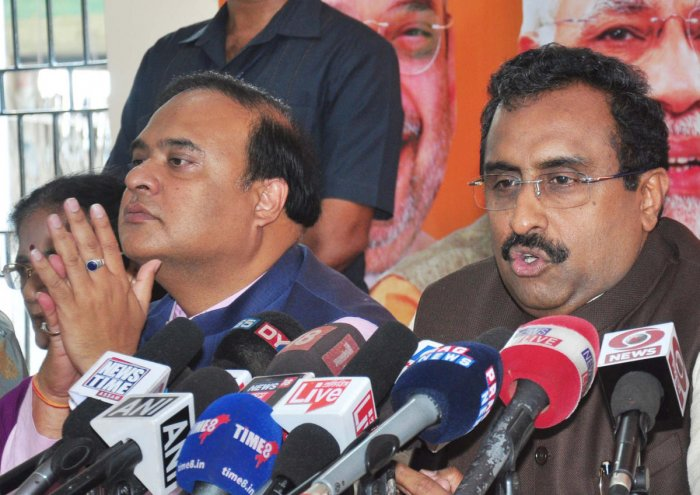 BJP national general secretary Ram Madhav addresses a press conference regarding the 2019 general elections at Assam state BJP office, in Guwahati on Sunday. Photo by Manash Das.