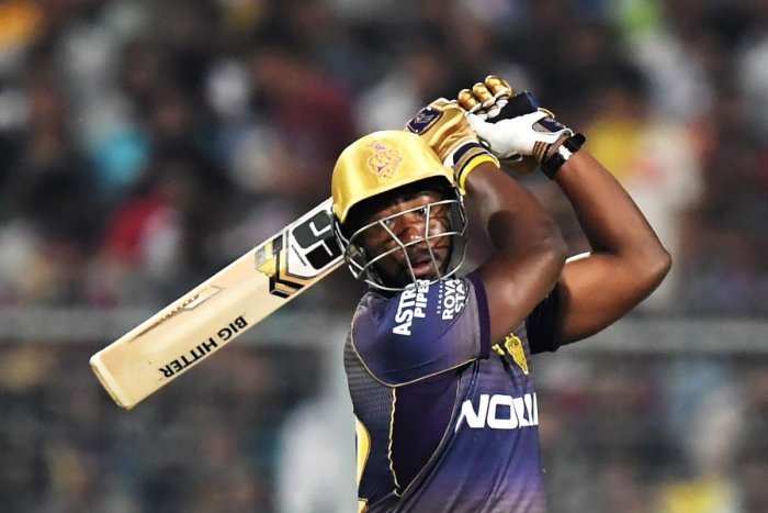 Kolkata Knight Riders' Andre slams one to the fence during his explosive 49 not out against Sunrisers Hyderabad on Sunday. AFP