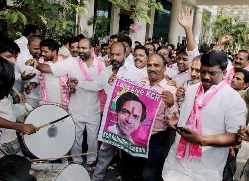 TRS storms to power in Telangana, TDP in Seemandhra