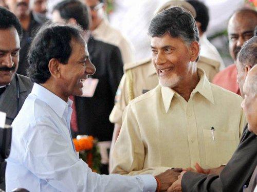 Naidu, KCR bury hatchet and shake hands