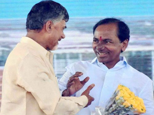 Rare bonhomie between Chandrababu, KCR at AP capital ceremony