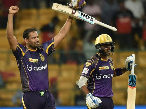 Pathan propels KKR to victory in rain-hit tie