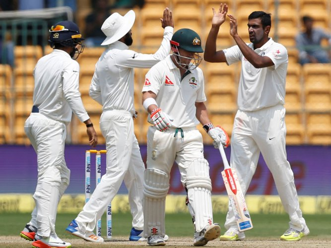 Ashwin spins India to 75-run win in 2nd Test, series level