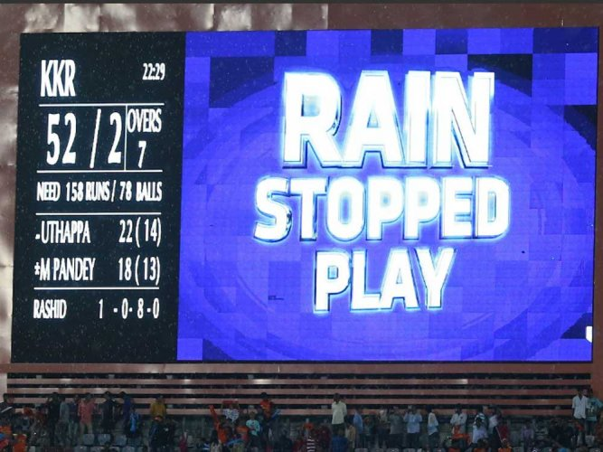 Rain stops play in IPL match between KKR and SH