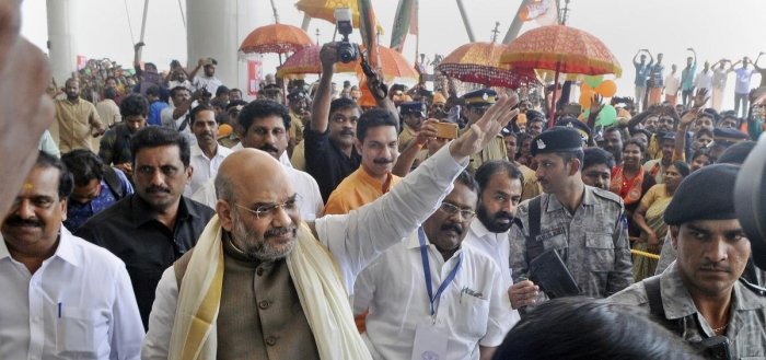 BJP National President Amit Shah on his arrival at the Kannur International Airport in Kannur on Saturday. PTI photo