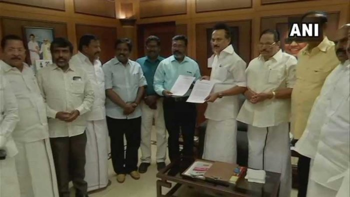 The pact was signed between DMK President M K Stalin and VCK chief Thol Thirumavalavan at the DMK headquarters on Monday. (Image: ANI/Twitter)