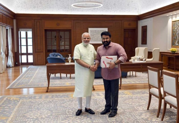 Malayalam superstar Mohanlal met Prime Minister Narendra Modi in Delhi on Monday. ANI Photo