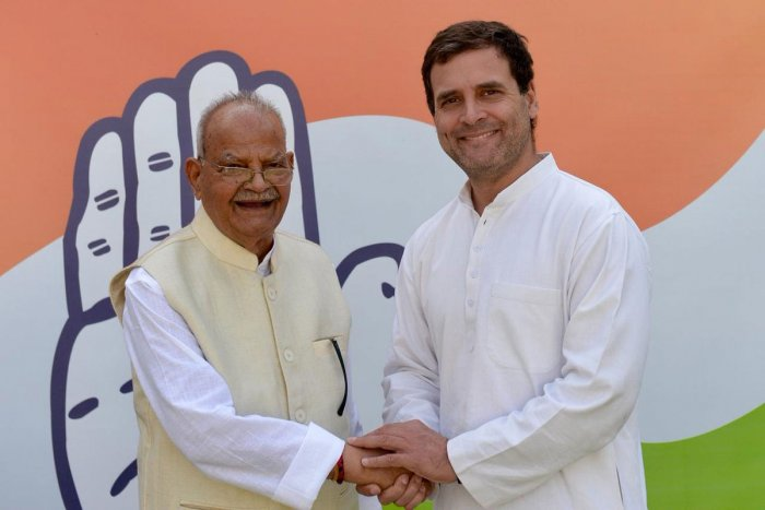 Revolving door politics was on full display on Monday as former telecom minister Sukh Ram, who had quit the Congress two years ago, re-joined the party along with his grandson Ashray Sharma. Picture courtesy Twitter