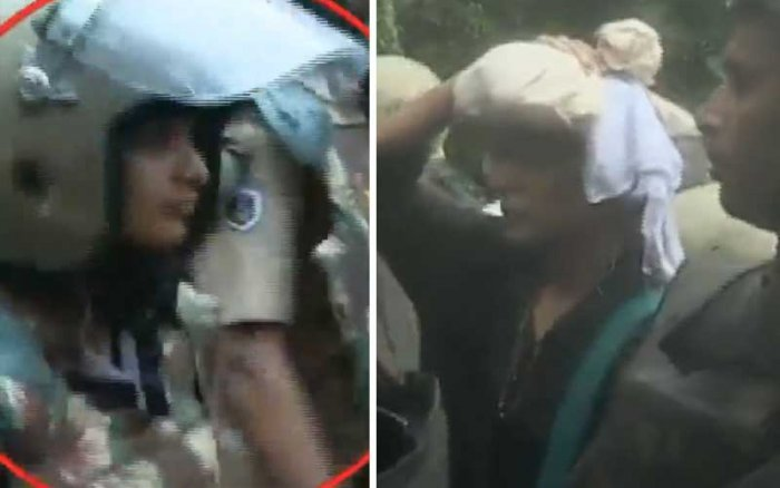 Kavita, a journalist from Andhra Pradesh and Rehana Fathima climb the hill in Sabarimala with high police security. (Video grab/Mathrubhumi News)