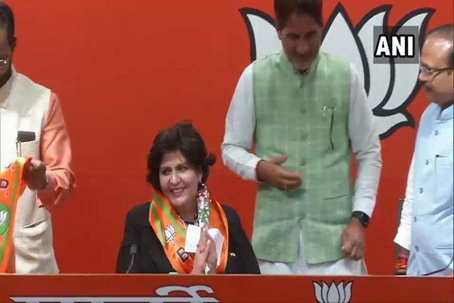 She joined the BJP in the presence of the party's Haryana unit chief Subhash Barala, and general secretary Anil Jain, who is in charge of its affairs in the state. (Image: ANI/Twitter)