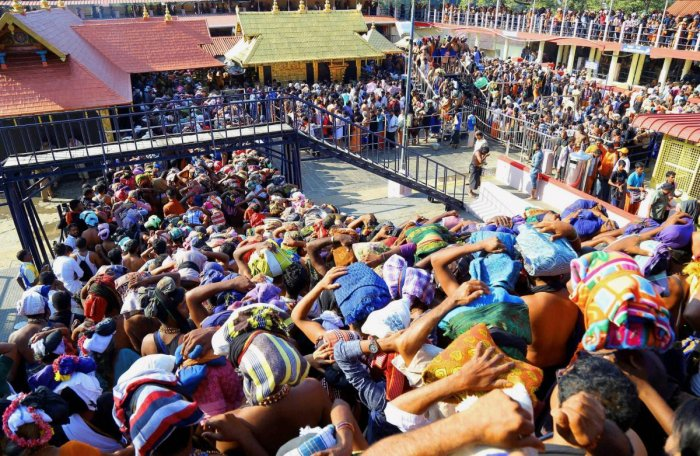 Devotees gather at the Sabarimala Lord Ayyappa Temple in Pathanamthitta, Kerala