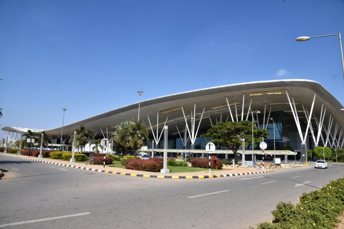Kempegowda International Airport (KIA) in Devanahalli, Bengaluru on Sunday. (DH Photo by S K Dinesh)