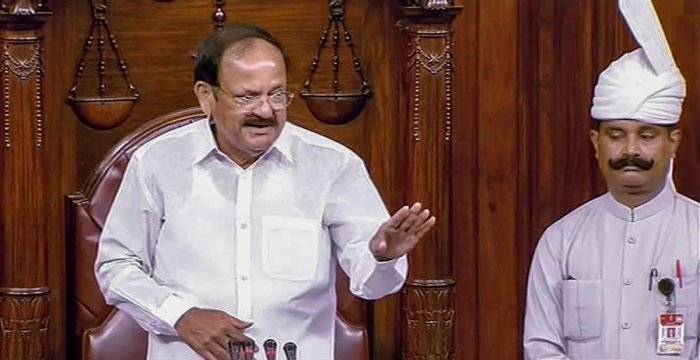 Vice President M Venkaiah Naidu conducts the proceedings of Rajya Sabha during the Monsoon session of Parliament, in New Delhi on Wednesday, Aug 1, 2018. (RSTV GRAB via PTI)